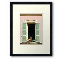 Open Window with Shutters in Nice, France Framed Print
