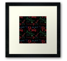 Colored word about Paris pattern on black Framed Print