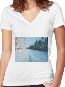 Ski Tracks Women's Fitted V-Neck T-Shirt