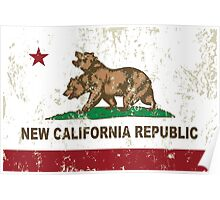 New California Republic Flag Distressed Poster