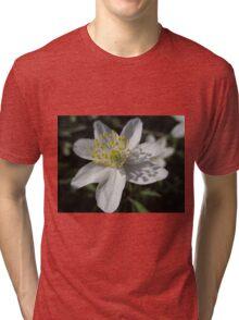 Single White Wood Anemone Tri-blend T-Shirt