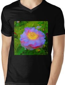 Funky Rose Violet & Pink Mens V-Neck T-Shirt