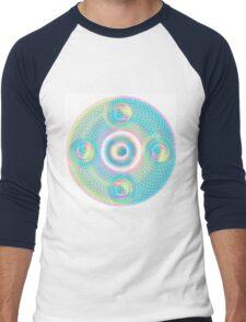Sacred Geometry Orb cubical Aqua Men's Baseball ¾ T-Shirt