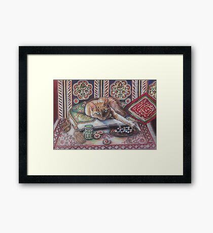 Ginger cat playing Solitaire Framed Print