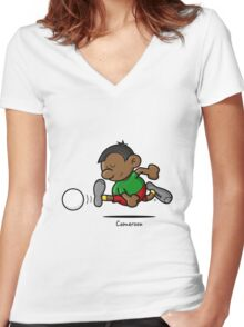 2014 World Cup - Cameroon Women's Fitted V-Neck T-Shirt