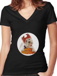 Happy Halloween with White Dog Women's Fitted V-Neck T-Shirt