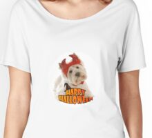 Happy Halloween with White Dog Women's Relaxed Fit T-Shirt