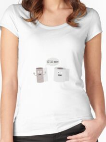 Toilet roll tissue cartoon Women's Fitted Scoop T-Shirt
