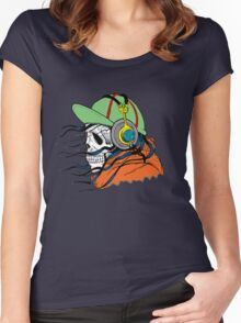 Skeleton with Headphones - Funny Cartoon Unisex Women's Fitted Scoop T-Shirt