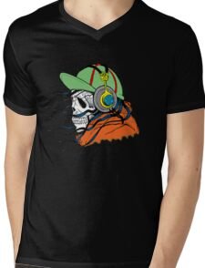 Skeleton with Headphones - Funny Cartoon Unisex Mens V-Neck T-Shirt