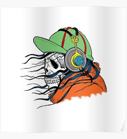 Skeleton with Headphones - Funny Cartoon Unisex Poster