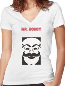 mr robot (black t-shirt) Women's Fitted V-Neck T-Shirt