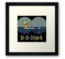 Joe & Petunia Mermaid - Vital Statistics joke Framed Print