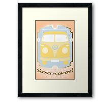 Retro van card illustration with French text for happy holidays Framed Print