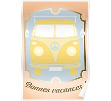 Retro van card illustration with French text for happy holidays Poster