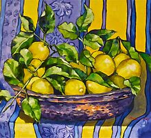 'Provence lemons in a copper bowl' 2012Ⓒ Oil on canvas. by Elizabeth Moore Golding