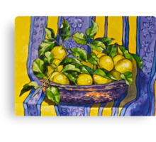 'Provence lemons in a copper bowl' 2012Ⓒ Oil on canvas. Canvas Print
