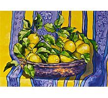 'Provence lemons in a copper bowl' 2012Ⓒ Oil on canvas. Photographic Print