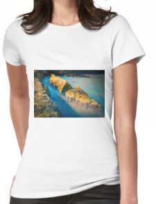 Rocks and misty blue ocean Womens Fitted T-Shirt