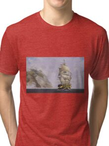 sailing ship yellow stripe Tri-blend T-Shirt