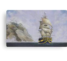 sailing ship yellow stripe Canvas Print