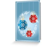 Christmas card with shimmering baubles, holidays illustration  Greeting Card