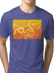 Abstract shimmering orange background with curls and bubbles Tri-blend T-Shirt