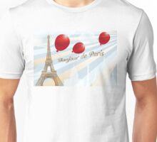 Postcard from Paris with French text and landmarks Unisex T-Shirt