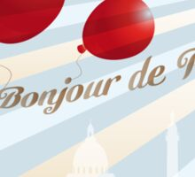Postcard from Paris with French text and landmarks Sticker