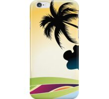 Ocean Wave , surf board and Palm Trees under the sun iPhone Case/Skin