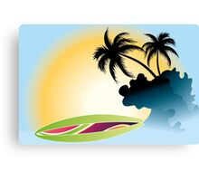 Ocean Wave , surf board and Palm Trees under the sun Canvas Print