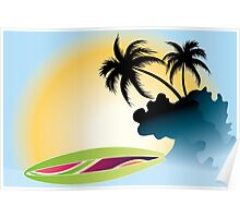Ocean Wave , surf board and Palm Trees under the sun Poster
