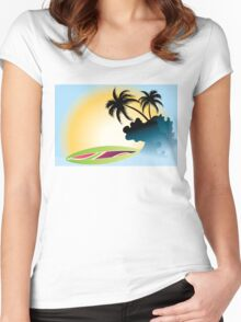 Ocean Wave , surf board and Palm Trees under the sun Women's Fitted Scoop T-Shirt