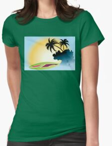 Ocean Wave , surf board and Palm Trees under the sun Womens Fitted T-Shirt