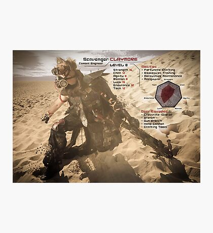 Claymore's Stats (Scavengers Poster) Photographic Print