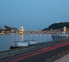 The Chain Bridge Across The River Danube by Keith Larby