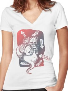 Lost Djinn On Way To School Women's Fitted V-Neck T-Shirt