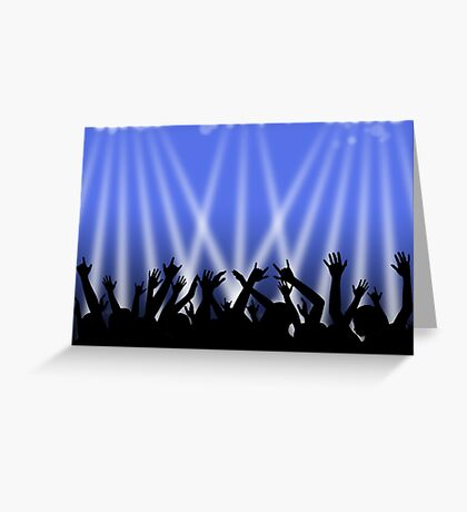Dancing Crowd With Blue and White Lights Greeting Card