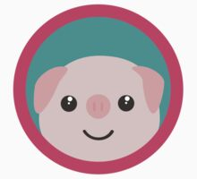Cute pink pig with purple circle Kids Tee