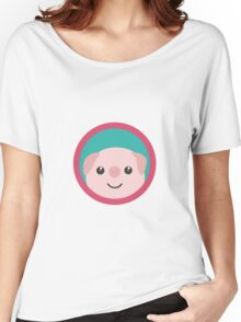 Cute pink pig with purple circle Women's Relaxed Fit T-Shirt