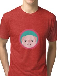 Cute pink pig with purple circle Tri-blend T-Shirt