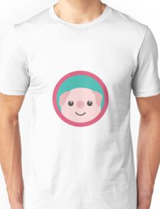 Cute pink pig with purple circle Unisex T-Shirt