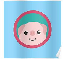 Cute pink pig with purple circle Poster