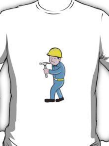 Carpenter Builder Hammer Walking Cartoon T-Shirt
