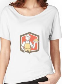 Cheesemaker Holding Parmesan Cheese Cartoon Women's Relaxed Fit T-Shirt
