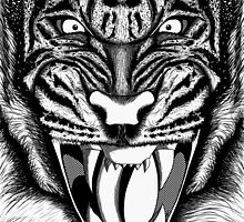 Raging Tiger - Black & White Edition (Comic Book Style) by ideasinacan