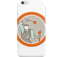 Plumber Wielding Plunger Wrench Circle Cartoon iPhone Case/Skin