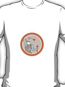 Plumber Wielding Plunger Wrench Circle Cartoon T-Shirt