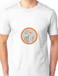 Plumber Wielding Plunger Wrench Circle Cartoon Unisex T-Shirt