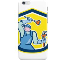 Plumber Wielding Plunger Wrench Shield Cartoon iPhone Case/Skin